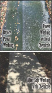 The difference that shows the effectivness of soft washing chemicals applied to moldy concrete after pressure washing