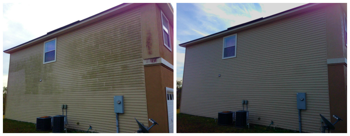 Vinyl Siding House Wash Before and After