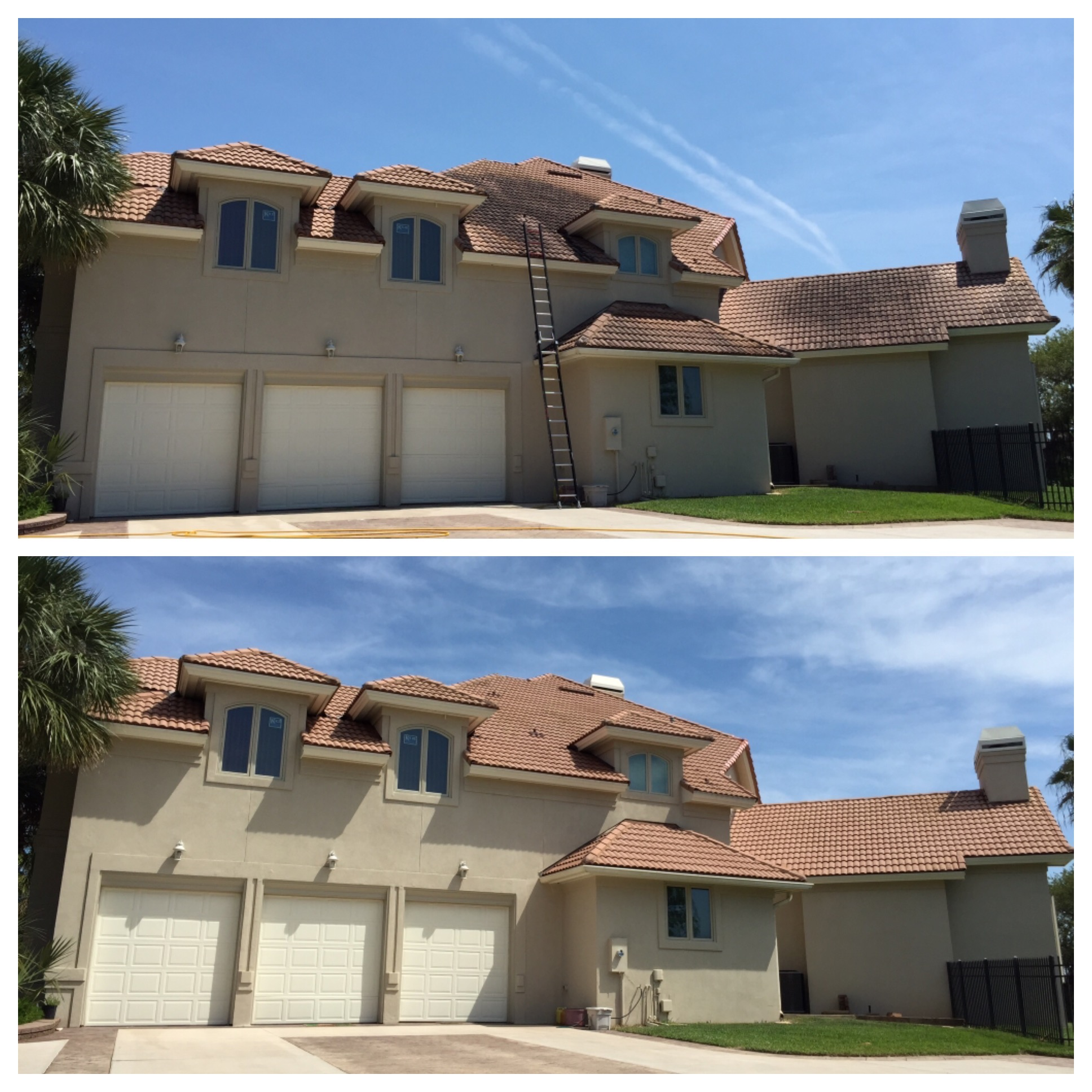 Terra Cotta Tile Roof Cleaning Before and After