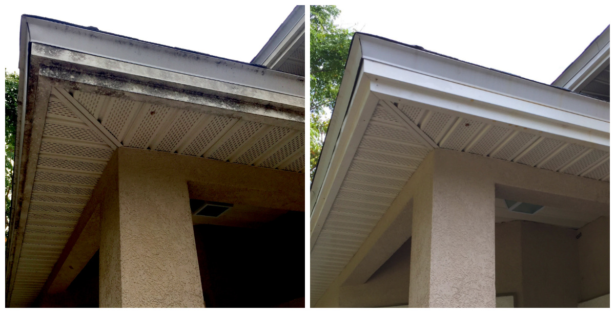 Vinyl Soffit and Fascia Cleaning Before and After